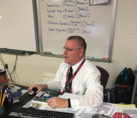Calvert High School science teacher Stephen King calls teaching the best job in the world. (Mr. King article; photo taken by me)