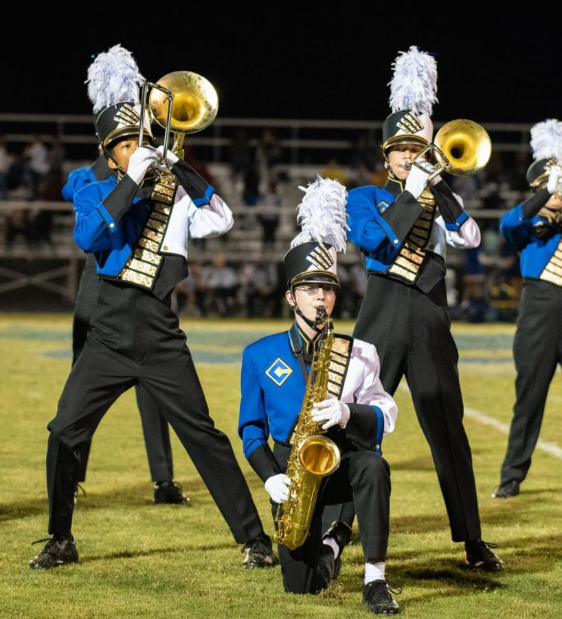 Calvert High School's Rahdeeq Johnson (trombone), left, Matthew Mahar (tenor sax) and Adam Daugherty (trombone) perform earlier this year.