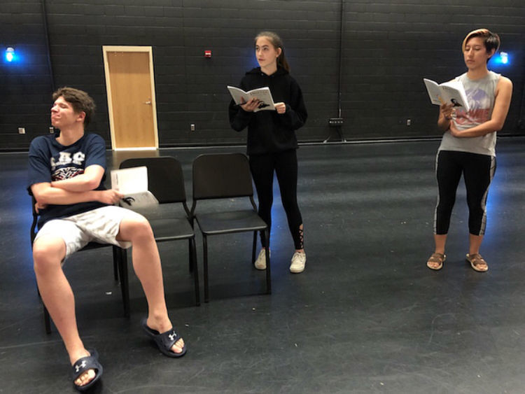 Junior Ben Voelker, senior Patty Massie and senior Abby Rieve rehearse the production of 'Dracula: The Vampire Play. (School's out article; photo taken by Isis Shrader)