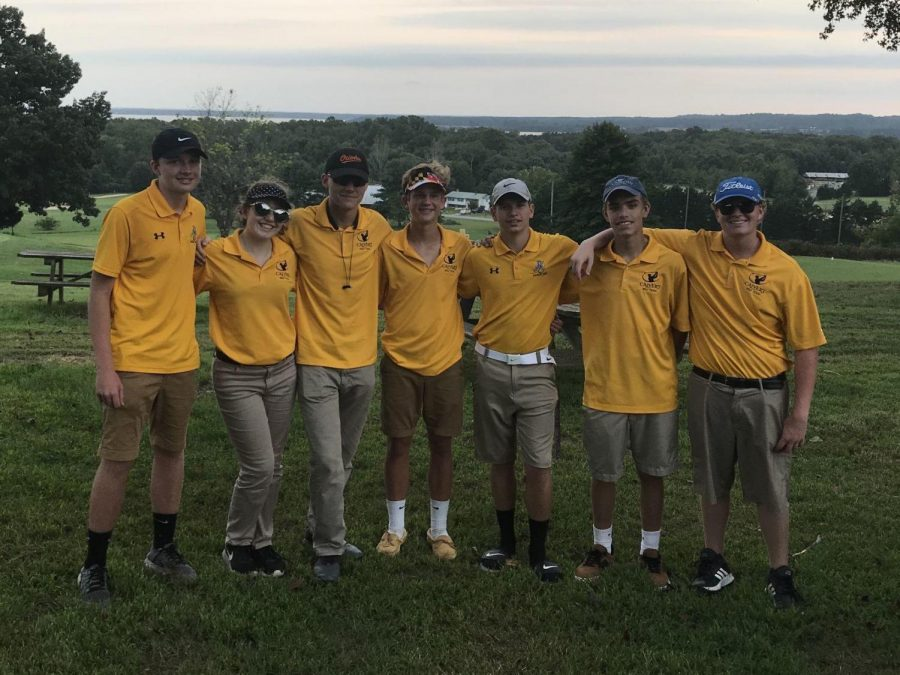 Calvert's golf team concluded its season at the SMAC tournament at Wicomico Shores Golf Course on Oct. 17. Pictured, from left, are Andrew Matteson, Angel Gingras, Garrett Libby, Chad Smialek, Dylan Loveless, Mitchell Sprague and Ryan Smith. (Golf article; photo by Jenny Smith)